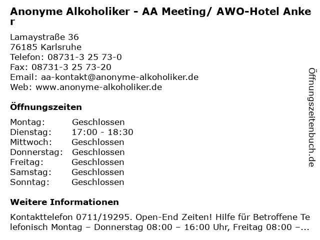 Anonyme Alkoholiker - AA Meeting/ AWO-Hotel Anker in Karlsruhe: Adresse und Öffnungszeiten
