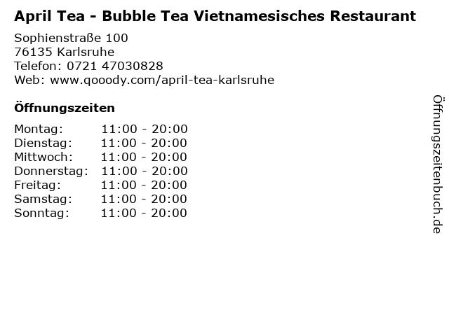 April Tea - Bubble Tea Vietnamesisches Restaurant in Karlsruhe: Adresse und Öffnungszeiten