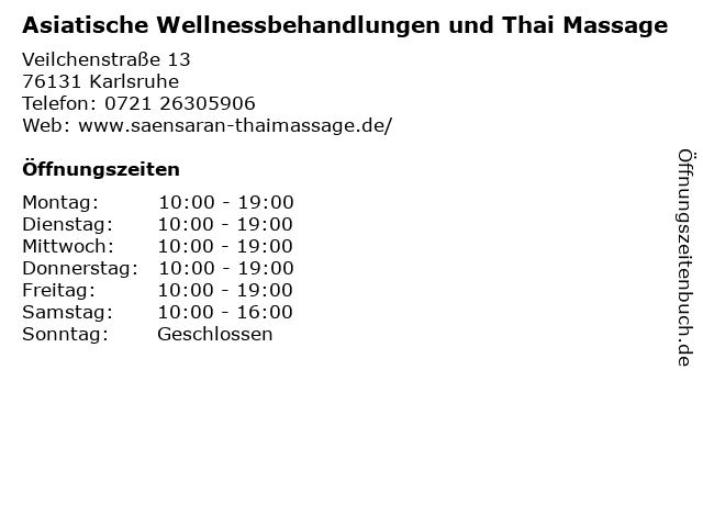 Asiatische Wellnessbehandlungen und Thai Massage in Karlsruhe: Adresse und Öffnungszeiten