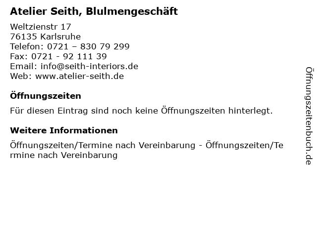 Atelier Seith, Blulmengeschäft in Karlsruhe: Adresse und Öffnungszeiten