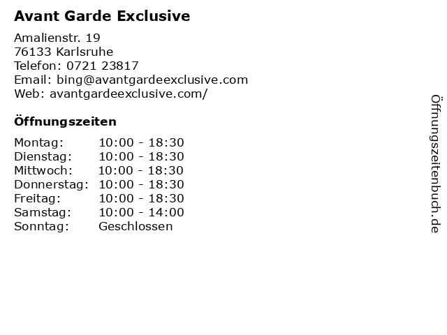 Avant Garde Exclusive in Karlsruhe: Adresse und Öffnungszeiten