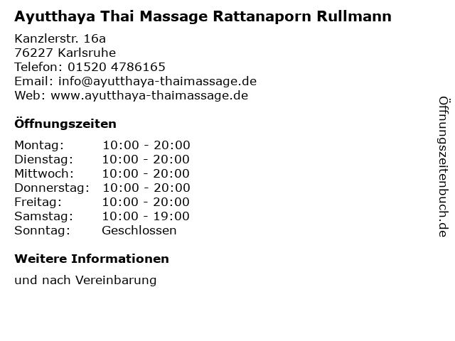 Ayutthaya Thai Massage Rattanaporn Rullmann in Karlsruhe: Adresse und Öffnungszeiten