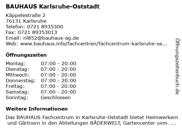 BAUHAUS Karlsruhe-Oststadt in Karlsruhe: Adresse und Öffnungszeiten