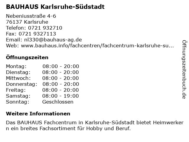 BAUHAUS Karlsruhe-Südstadt in Karlsruhe: Adresse und Öffnungszeiten
