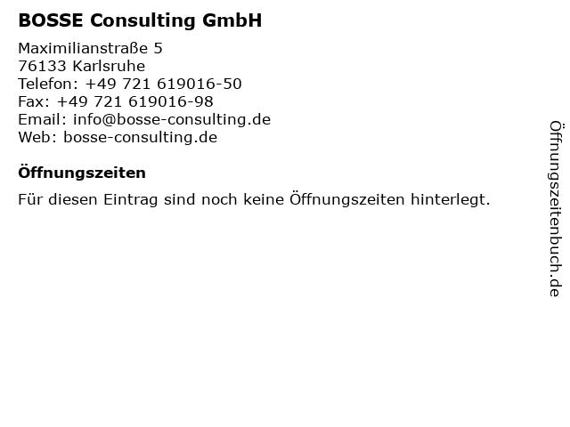 BOSSE Consulting GmbH in Karlsruhe: Adresse und Öffnungszeiten