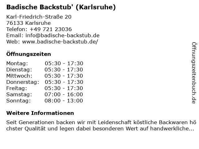 Badische Backstub, Cafe in Karlsruhe: Adresse und Öffnungszeiten