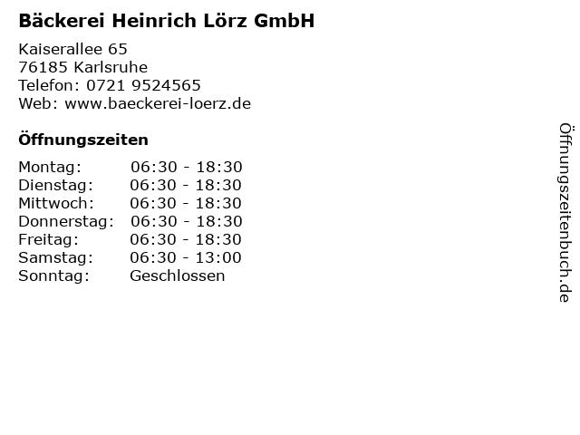 Bäckerei Heinrich Lörz GmbH in Karlsruhe: Adresse und Öffnungszeiten