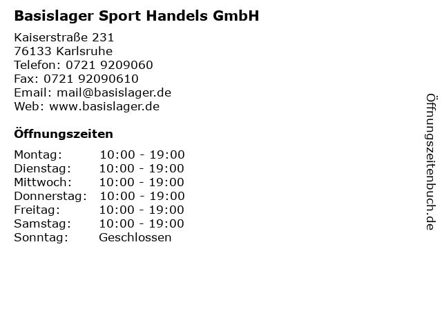 Basislager Sport Handels GmbH in Karlsruhe: Adresse und Öffnungszeiten