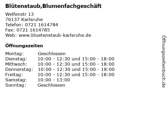 Blütenstaub,Blumenfachgeschäft in Karlsruhe: Adresse und Öffnungszeiten