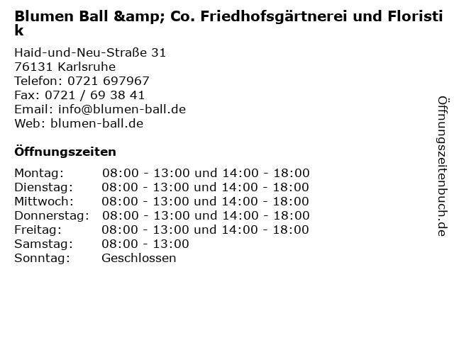 Blumen Ball & Co. Friedhofsgärtnerei und Floristik in Karlsruhe: Adresse und Öffnungszeiten