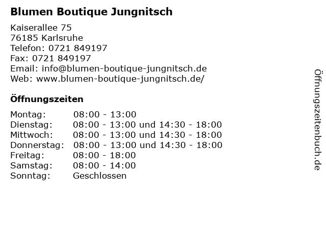 Blumen Boutique Jungnitsch in Karlsruhe: Adresse und Öffnungszeiten