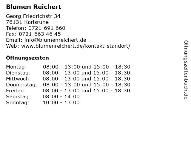 Blumen Reichert in Karlsruhe: Adresse und Öffnungszeiten