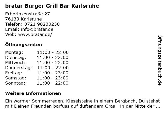Bratar - Steakhouse & Burger Restaurant in Karlsruhe: Adresse und Öffnungszeiten