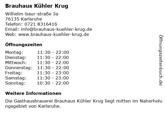 Brauhaus Kühler Krug in Karlsruhe: Adresse und Öffnungszeiten