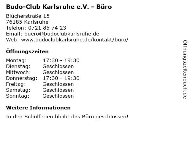 Budo-Club Karlsruhe e.V. - Büro in Karlsruhe: Adresse und Öffnungszeiten