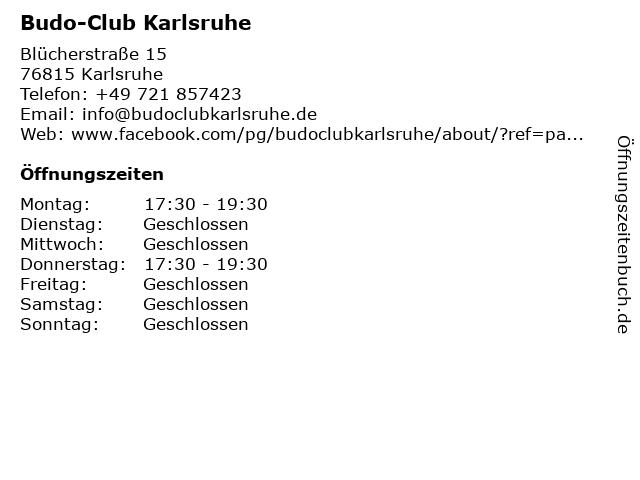 Budo-Club Karlsruhe in Karlsruhe: Adresse und Öffnungszeiten