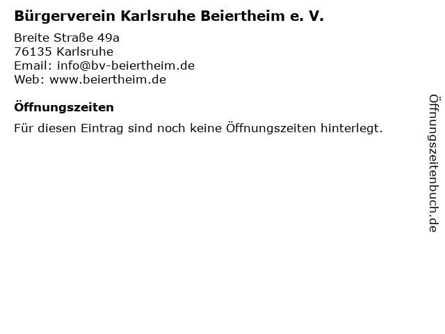 Bürgerverein Karlsruhe Beiertheim e. V. in Karlsruhe: Adresse und Öffnungszeiten