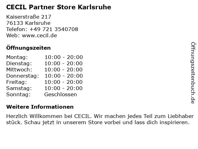 CECIL Partner Store Karlsruhe in Karlsruhe: Adresse und Öffnungszeiten