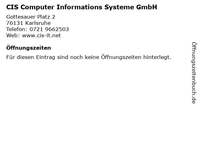 CIS Computer Informations Systeme GmbH in Karlsruhe: Adresse und Öffnungszeiten