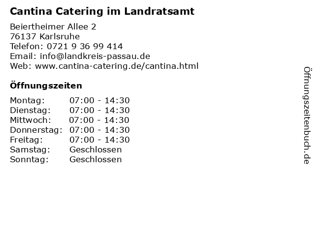 Cantina Catering im Landratsamt in Karlsruhe: Adresse und Öffnungszeiten