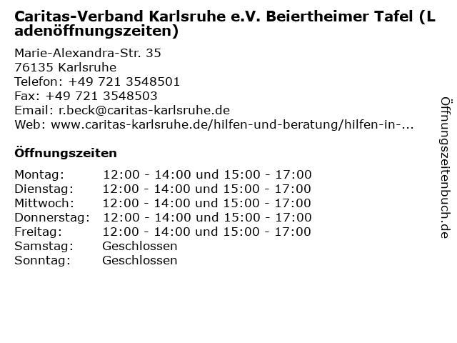 Caritas-Verband Karlsruhe e.V. Beiertheimer Tafel (Ladenöffnungszeiten) in Karlsruhe: Adresse und Öffnungszeiten
