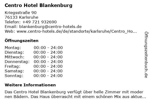 Centro Hotel Blankenburg in Karlsruhe: Adresse und Öffnungszeiten