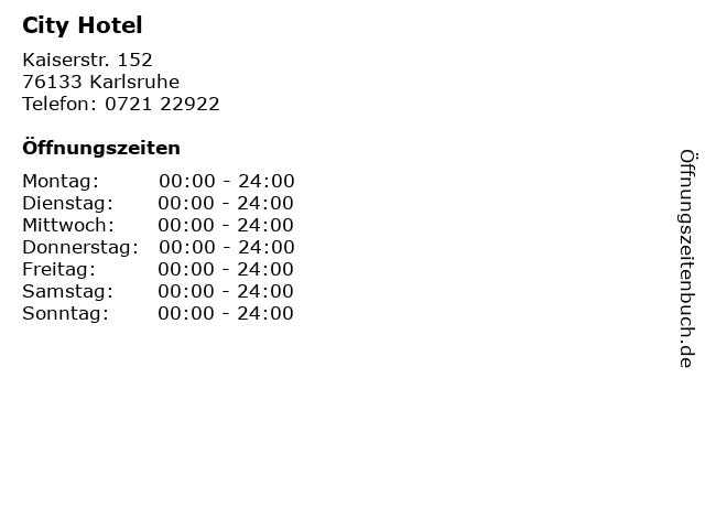 City Hotel in Karlsruhe: Adresse und Öffnungszeiten