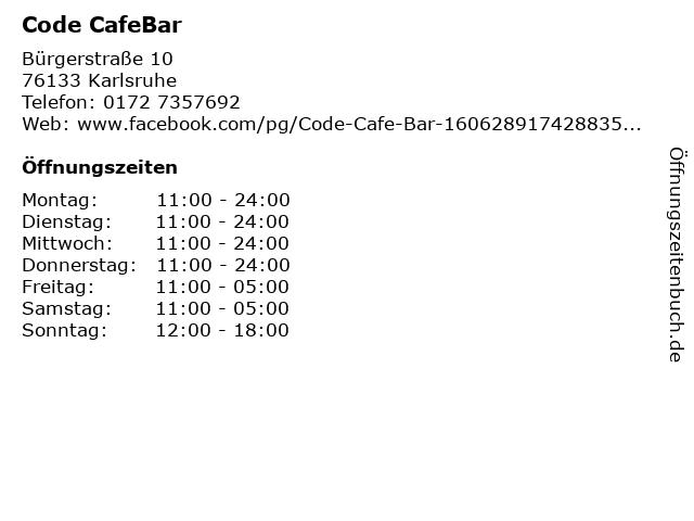 Code CafeBar in Karlsruhe: Adresse und Öffnungszeiten