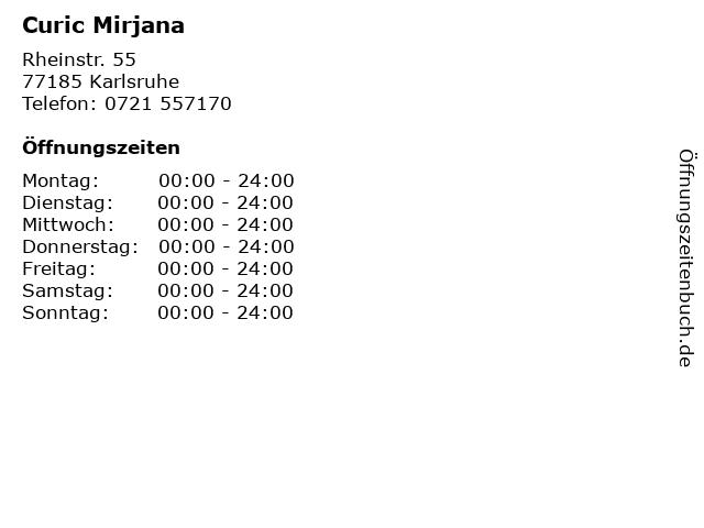 Curic Mirjana in Karlsruhe: Adresse und Öffnungszeiten