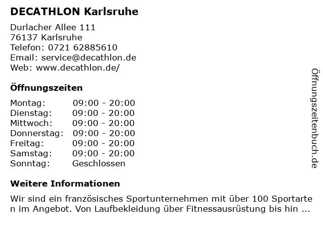 DECATHLON Karlsruhe-Durlach in Karlsruhe: Adresse und Öffnungszeiten