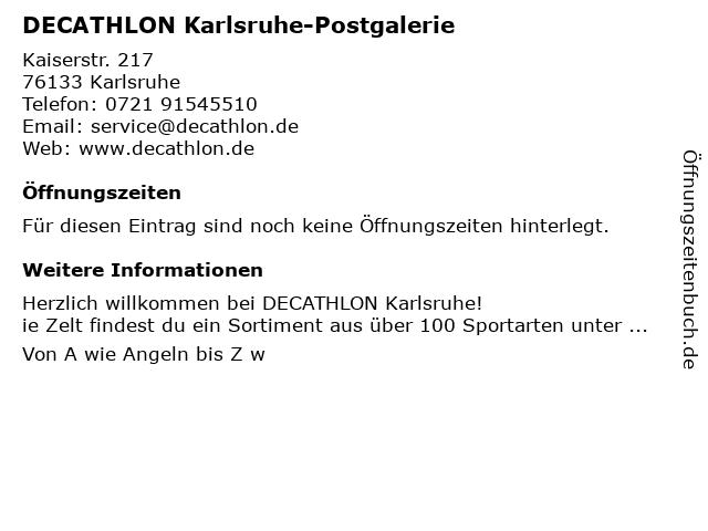 DECATHLON Karlsruhe-Postgalerie in Karlsruhe: Adresse und Öffnungszeiten