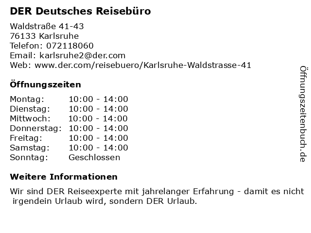 DER Deutsches Reisebüro in Karlsruhe: Adresse und Öffnungszeiten