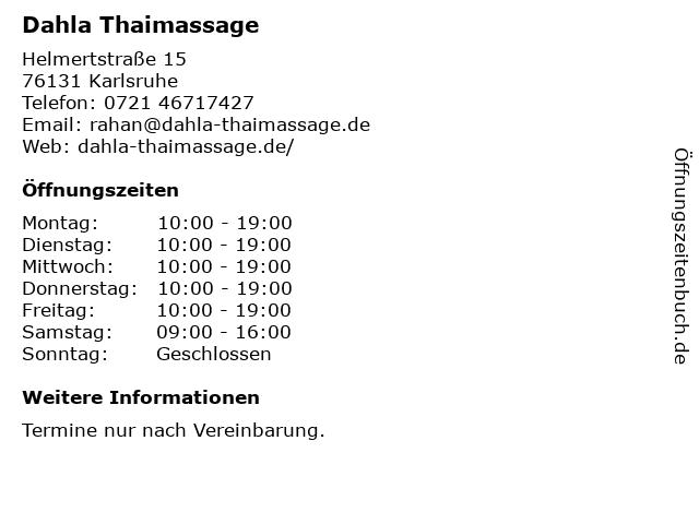 Dahla Thaimassage in Karlsruhe: Adresse und Öffnungszeiten