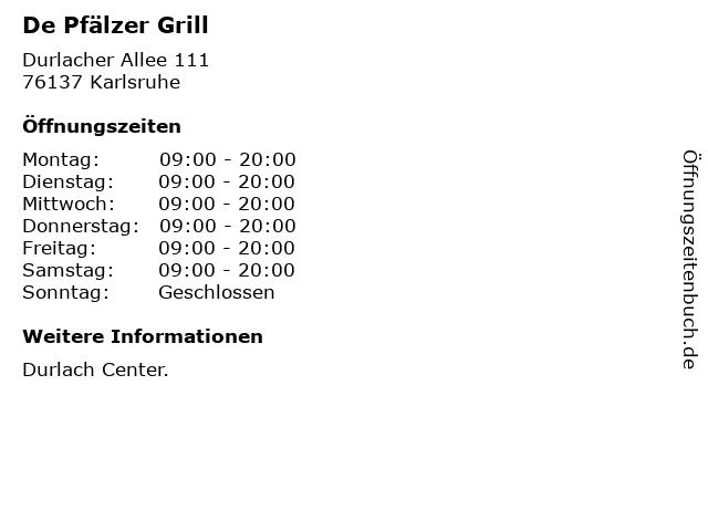 De Pfälzer Grill in Karlsruhe: Adresse und Öffnungszeiten