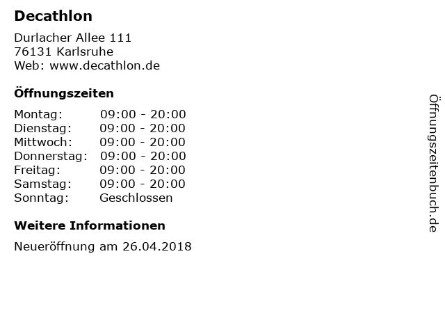 Decathlon in Karlsruhe: Adresse und Öffnungszeiten