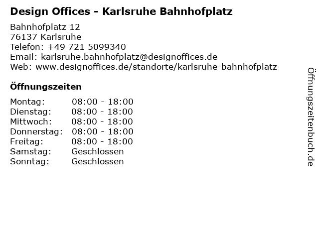 Design Offices - Karlsruhe Bahnhofplatz in Karlsruhe: Adresse und Öffnungszeiten