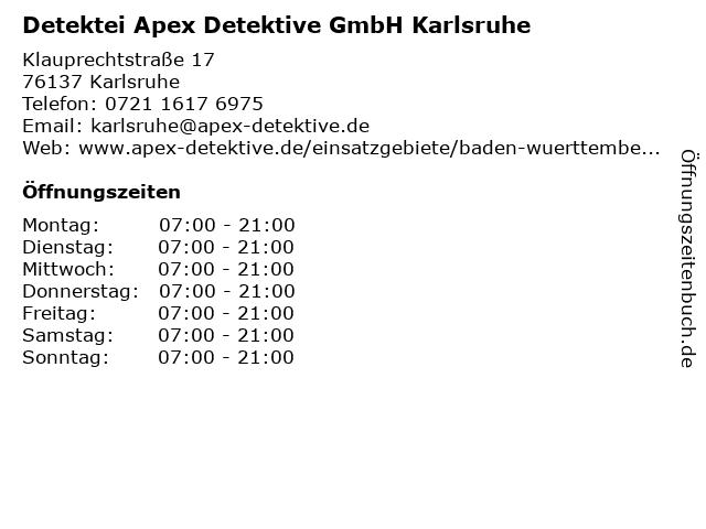 Detektei Apex Detektive GmbH Karlsruhe in Karlsruhe: Adresse und Öffnungszeiten