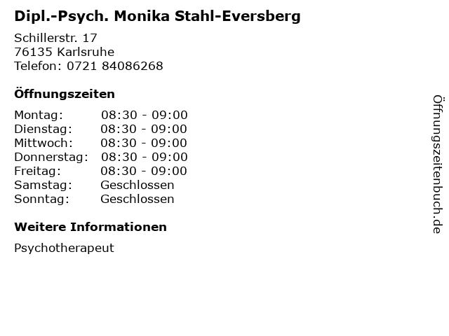 Dipl.-Psych. Monika Stahl-Eversberg in Karlsruhe: Adresse und Öffnungszeiten