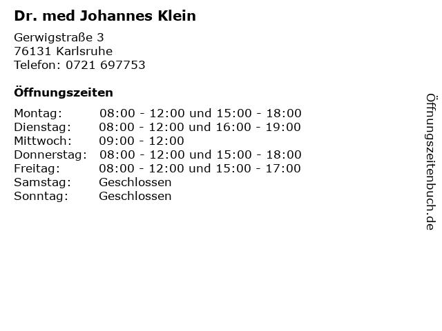 Dr. med Johannes Klein in Karlsruhe: Adresse und Öffnungszeiten