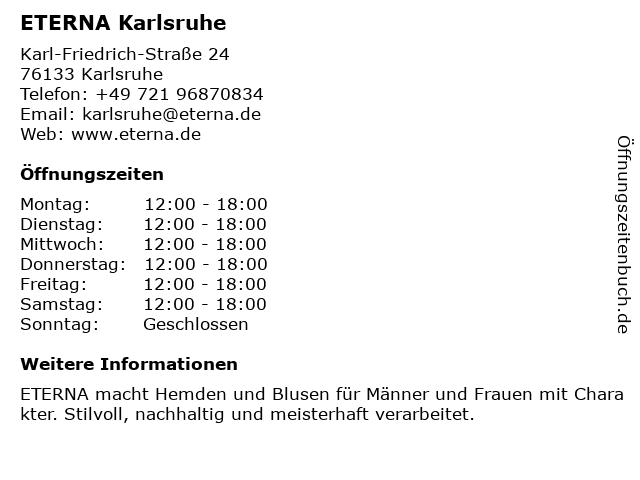 ETERNA Karlsruhe in Karlsruhe: Adresse und Öffnungszeiten