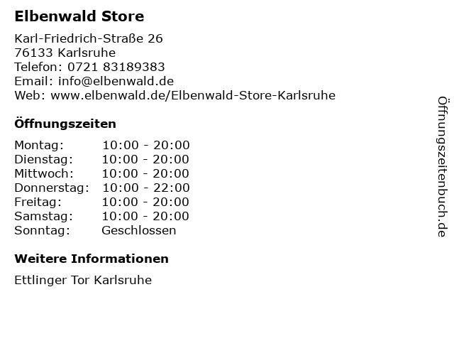 Elbenwald Store in Karlsruhe: Adresse und Öffnungszeiten