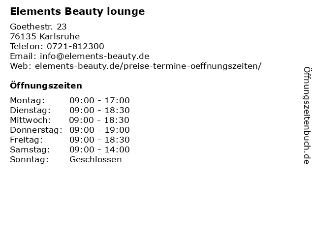 Elements Beauty lounge in Karlsruhe: Adresse und Öffnungszeiten