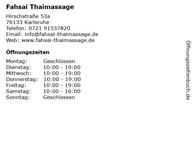 Fahsai Thaimassage in Karlsruhe: Adresse und Öffnungszeiten