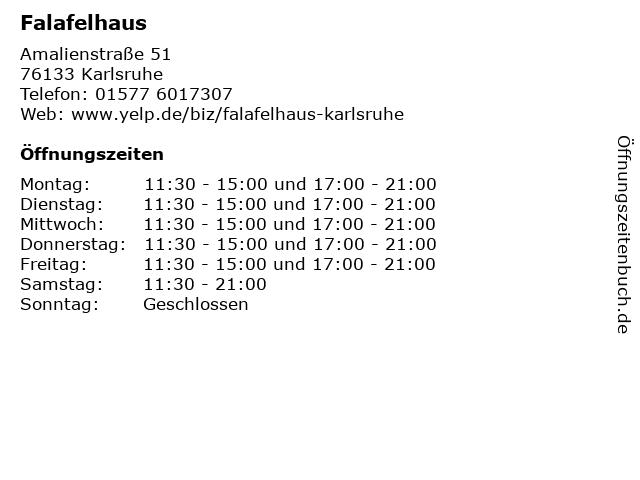 Falafelhaus in Karlsruhe: Adresse und Öffnungszeiten