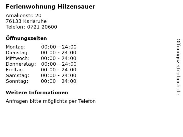 Ferienwohnung Hilzensauer in Karlsruhe: Adresse und Öffnungszeiten
