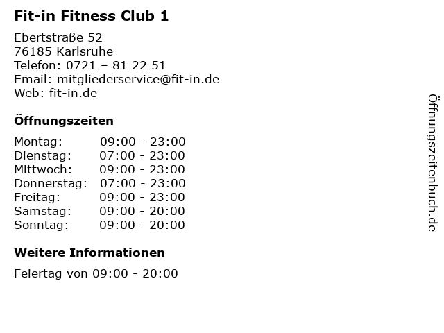 Fit-in Fitness Club 1 in Karlsruhe: Adresse und Öffnungszeiten