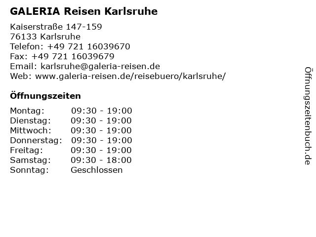 GALERIA Reisen Karlsruhe in Karlsruhe: Adresse und Öffnungszeiten