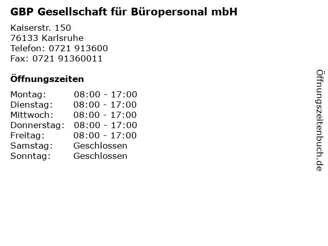 GBP Gesellschaft für Büropersonal mbH in Karlsruhe: Adresse und Öffnungszeiten