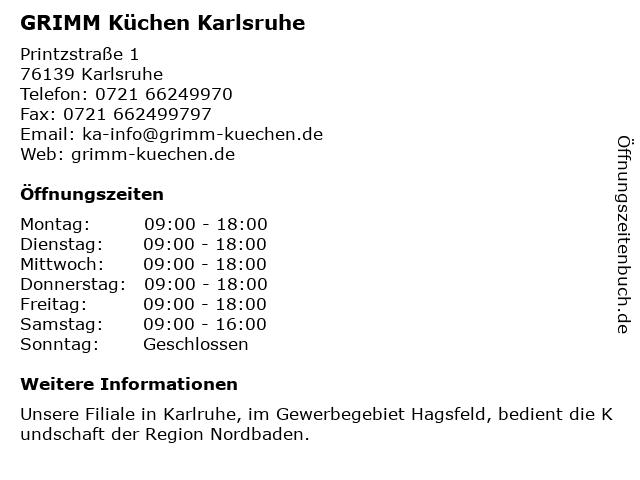 GRIMM Küchen Karlsruhe in Karlsruhe: Adresse und Öffnungszeiten