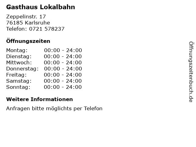 Gasthaus Lokalbahn in Karlsruhe: Adresse und Öffnungszeiten